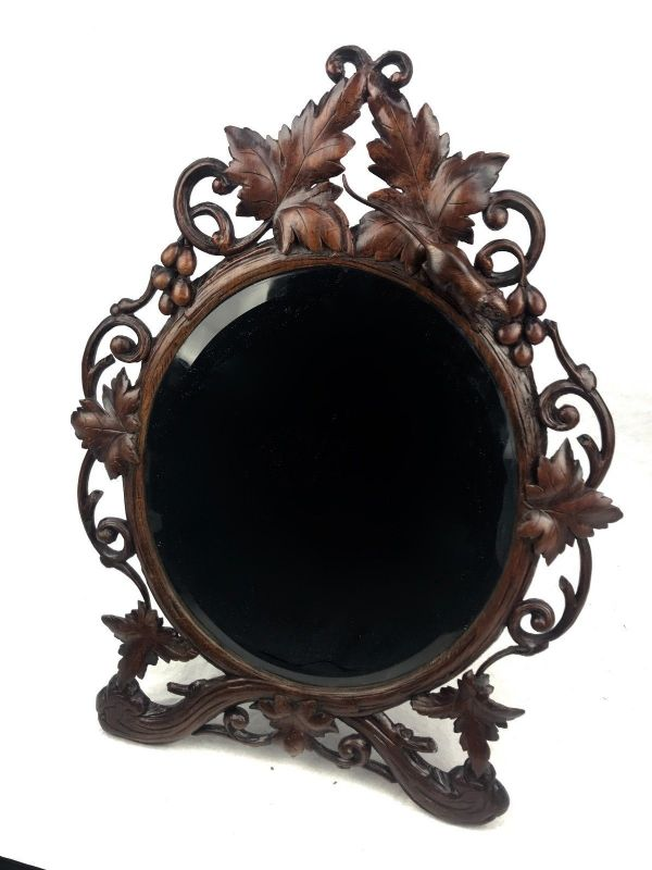 Antique Black Forest Mirror / Switzerland / Leaf Foliage With Mouse Design RARE